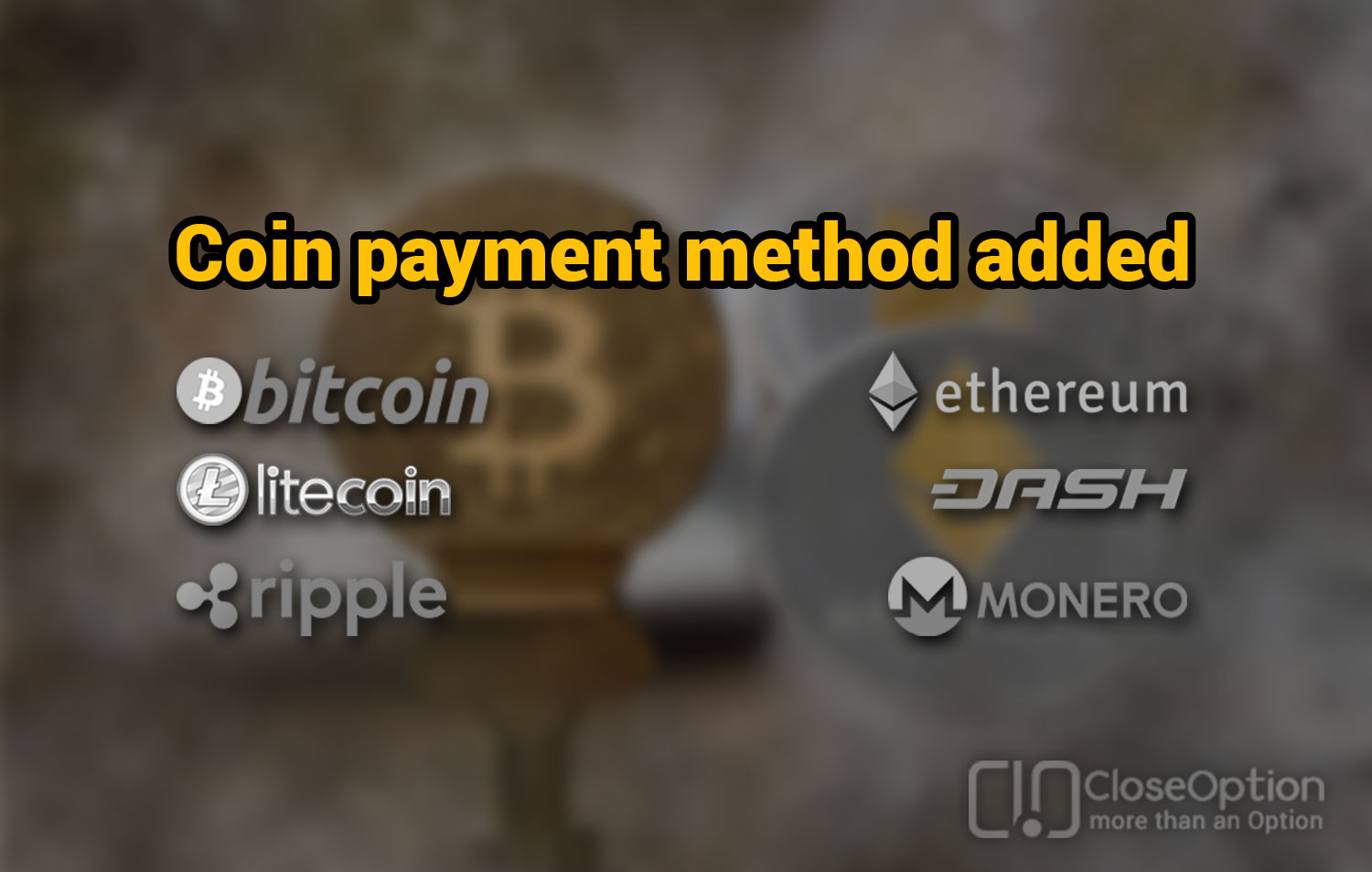 Coin payment method added to CloseOption